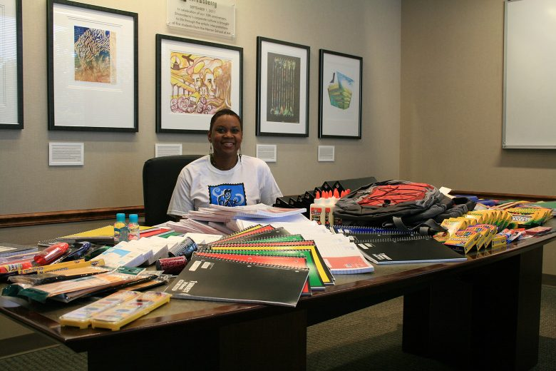 Shrewsberry provides school supplies to Indy BackPack Attack. Since 1999, Indy BackPack Attack has formed strategic community collaborations with Central Indiana organizations and businesses and has made it their mission to collect school supplies to provide children the tools they need to succeed in school.