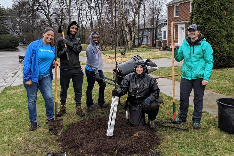 Shrewsberry volunteered with Keep Indianapolis Beautiful, Inc. to plant trees in the Butler-Tarkington area of Indianapolis.